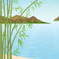 Bamboo and water thickets of on a background of mountains Stock Image