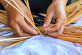 Bamboo weaving is one of thai handicraft Royalty Free Stock Photo