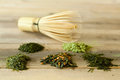 Bamboo whisk and green tea Royalty Free Stock Images