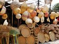 Bamboo wickerwork baskets on the thailand market place. Royalty Free Stock Photo