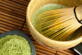 Bamboo wire whisk and japanese tea Stock Photos