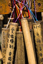 Bamboo wishing poles on jingtong old street the famous place at taiwan Stock Images