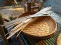 Bamboo woven. Bamboo basket hand made. Royalty Free Stock Photo