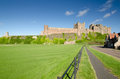 Bamburgh Castle and fence Stock Photos