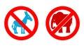 Ban elephant. Stop donkey. Prohibited Symbols USA political part Royalty Free Stock Photo