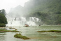 Ban Gioc or Detian Waterfall in Vietnam and China Royalty Free Stock Photo