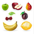 Banana apple pear cherry lemon fresh summer fruits set