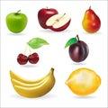 Banana apple pear cherry lemon fresh summer fruits set Royalty Free Stock Photo
