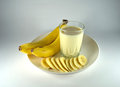 Banana and banana flavour milk Stock Photos
