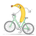 Banana with bike is cycling a Royalty Free Stock Photos