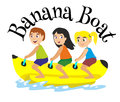 Banana boat water extreme sports, isolated design element for summer vacation activity concept, cartoon wave surfing Royalty Free Stock Photo