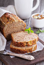 Banana bread on a cutting board Royalty Free Stock Photo