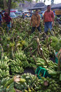 Banana the buyer selects the bananas sold in the market in the town of solo central java indonesia Stock Photo