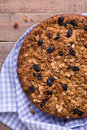 Banana cake with oatmeal and raisins granola top