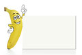 Banana cartoon character with a plain white board Stock Photo