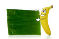 Banana cartoon character stands beside a plain leaf Stock Images