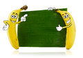 Banana cartoon characters two character standing beside green leaf Stock Image