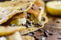 Banana and choco chips pancake with syrup on it closeup of Stock Image