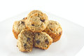 Banana chocolate chip walnut muffins chocoolate on a plate Stock Images