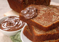 Banana and chocolate nut bread with Nutella Stock Photography