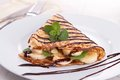 Banana crepe with chocolate Royalty Free Stock Photos