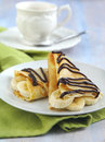 Banana Crepe with Chocolate syrup Stock Photography