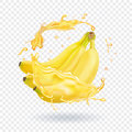 Banana fresh juice realistic illustration. Fruit vector icon
