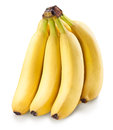 Banana fruits over white. Royalty Free Stock Photo