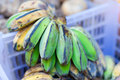 Banana hanging in asian market closeup Royalty Free Stock Images