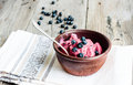 Banana ice cream with blueberries, healthy dessert, vegan Royalty Free Stock Photo