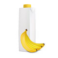 Banana juice in carton tetra pack and bananas near it isolated on white background Stock Image
