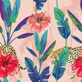 Banana leaves hibiscus leopard seamless pattern pink palm Royalty Free Stock Photo