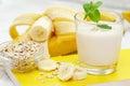 Banana milk shake with oat Royalty Free Stock Photo