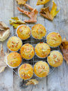 Banana muffin muffins with walnuts and sesame seeds on a cooling rack Royalty Free Stock Image
