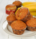 Banana muffins on a white background Royalty Free Stock Images