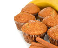 Banana muffins on a white background Royalty Free Stock Image