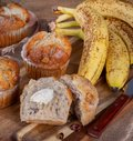 Banana Nut Muffin With bananas in Background Royalty Free Stock Photo