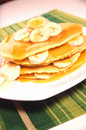 Banana Pancake Stack with Syrup Stock Image