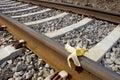 Banana peel on rail way, Humoristic `Sabotage` Royalty Free Stock Photo