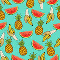 Banana, pineapple, and watermelon slices seamless pattern, fruit background. Drawing  on a blue , cartoon. For the Royalty Free Stock Photo