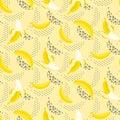Banana pop art seamless vector pattern on white.