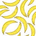 Banana seamless pattern. Endless yellow bananas on white back