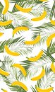 Banana seamless pattern with palm leaves on white background. Tropical fruit and botanical