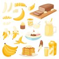 Banana set vector bananas products bread pancake or banana split with yellow cocktail and fruit in chocolate