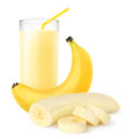Banana shake fresh over white background Royalty Free Stock Images