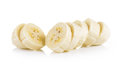 Banana slices isolated on white background Royalty Free Stock Photo