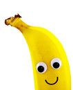Banana with smiley face ripe isolated on white background Royalty Free Stock Images