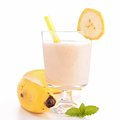 Banana smoothie isolated on white Stock Image