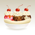 Banana split ice cream eps this illustration contains transparency Stock Photo