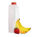 Banana strawberry juice in carton tetra pack few yellow bananas and one red near isolated on white background Royalty Free Stock Photo